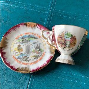 Vintage New Orleans Demi Cup and Saucer Souvenir
